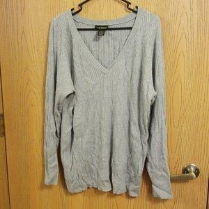Lane Bryant Gray V Neck Ribbed Sweater